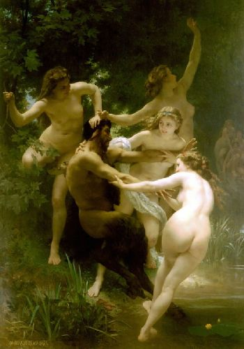 Nymphs and Satyr - painting by William-Adolphe Bougeareau